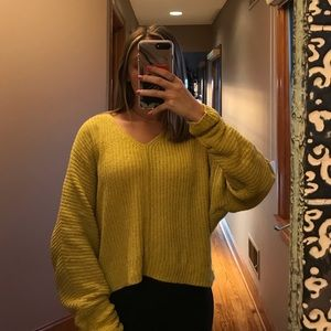 Urban Outfitters yellow chenille sweater